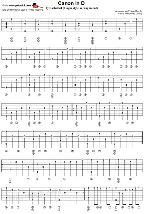 tutorial guitar canon rock canon in d by pachelbel fingerstyle guitar tablature 1
