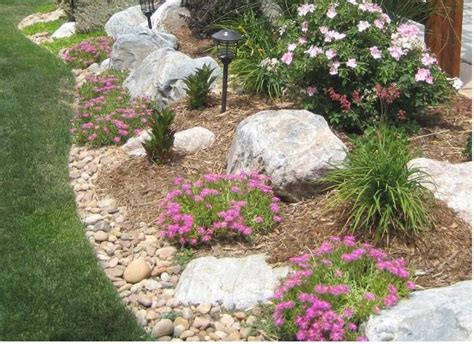 Rock Borders For Gardens Rock Garden Border With Bouldrers Landscape And Outdoors