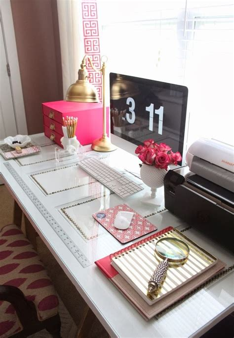 Inspired Desk by Kate Spade Inspired Office White And Gold Workspace