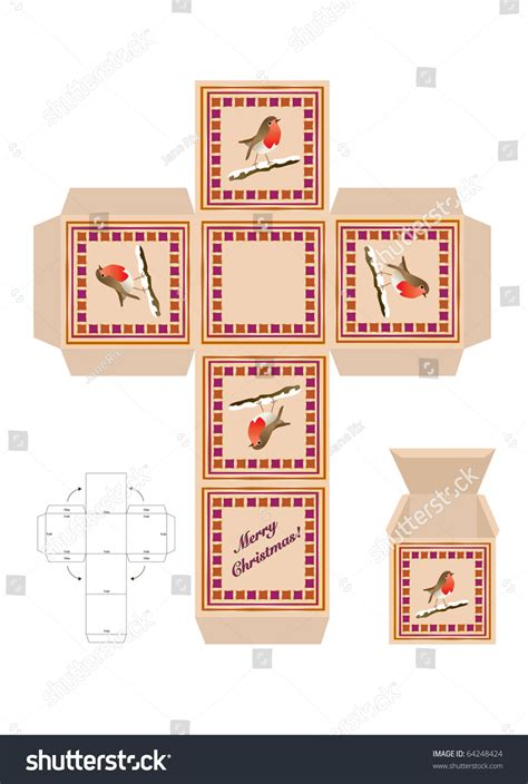 a christmas gift box cut out template with assembly