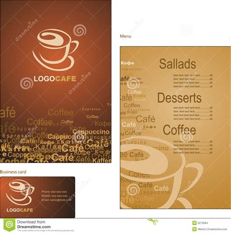 business menu template template designs of menu and business card for cof stock