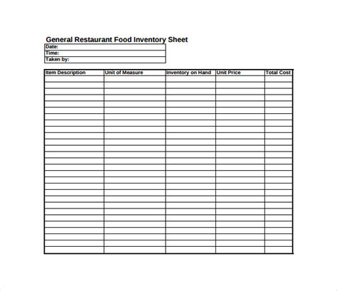 Inventory Management Sheet Sles Vatansun Restaurant Food Inventory Template