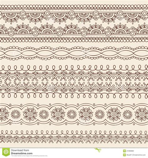 free doodle design elements henna mehndi doodle vector border design elements stock