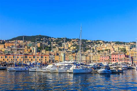 genoa italy port genoa italy sea port with ships and yachts stock photo