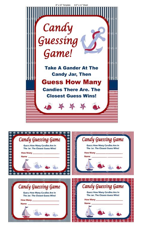 Nautical Candy Guessing Game Printable Baby Shower Candy Guessing Template