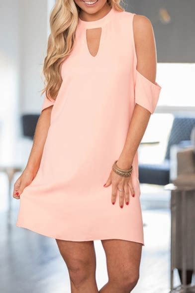 Shoulder Plain A Line Dress new stylish keyhole cold shoulder simple plain mini a line