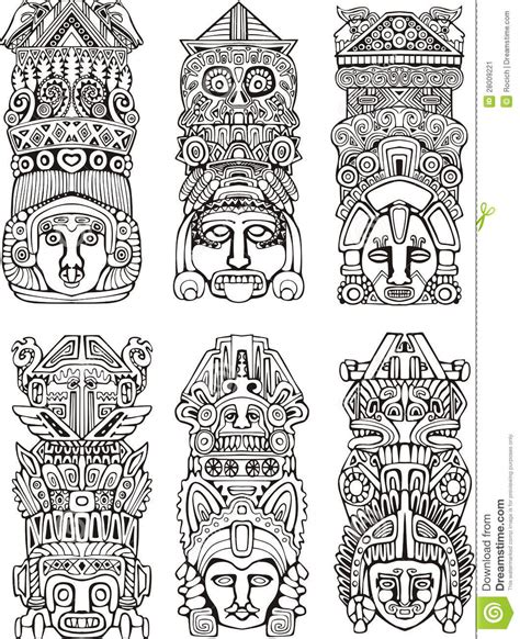 imagenes de totems aztecas aztec totem poles stock vector illustration of mythical
