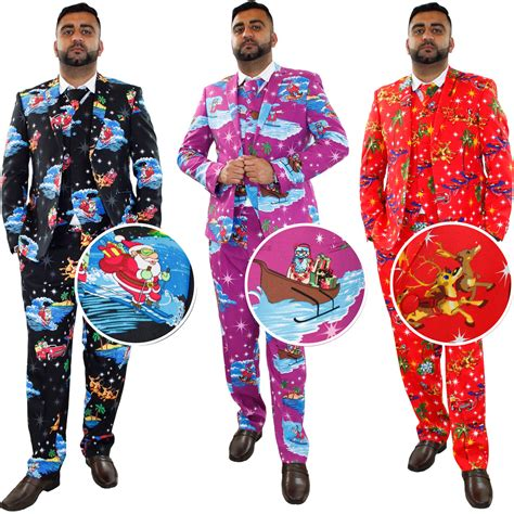 christmas mens wear new mens fancy dress novelty print deluxe festive costumes casual suit