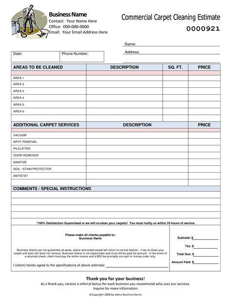 best photos of free cleaning estimate form template free