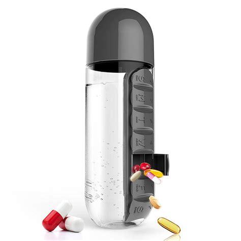Baru Botol Minum Unik Dengan Slot Tempat Obat 600ml botol minum unik dengan slot tempat obat 600ml black