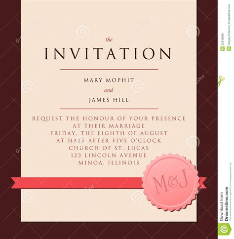Invitation To A Invitation To The Wedding Royalty Free Stock
