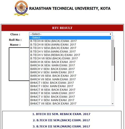 Rtu Mba Syllabus 2017 by Rtu B Tech 3rd Sem Result 2018 Esuvidha Rtu 3rd Sem