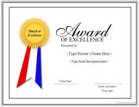 award of excellence certificate template special certificates award for excellence with ribbon