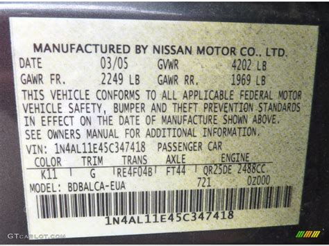 2005 nissan altima 2 5 s color code photos gtcarlot