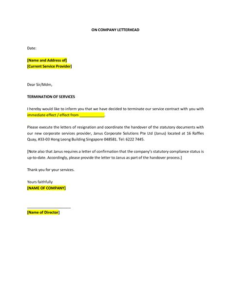 Service Termination Letter sle termination letter to talent cover letter