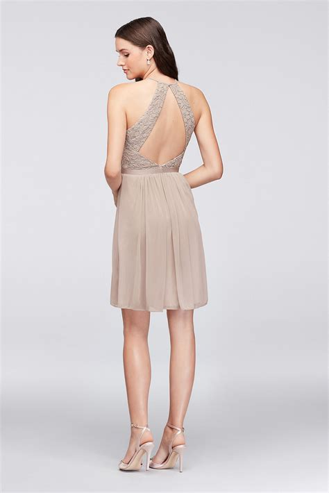 Lace Halter Style Dress 21902 halter lace and mesh style bridesmaid dress f19752
