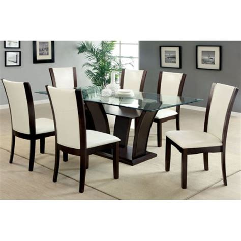 Dining Table Sets Glass Gorgeous Glass Dining Table Sets On Finish Glass Top 7 Dining Table Set Ivory White