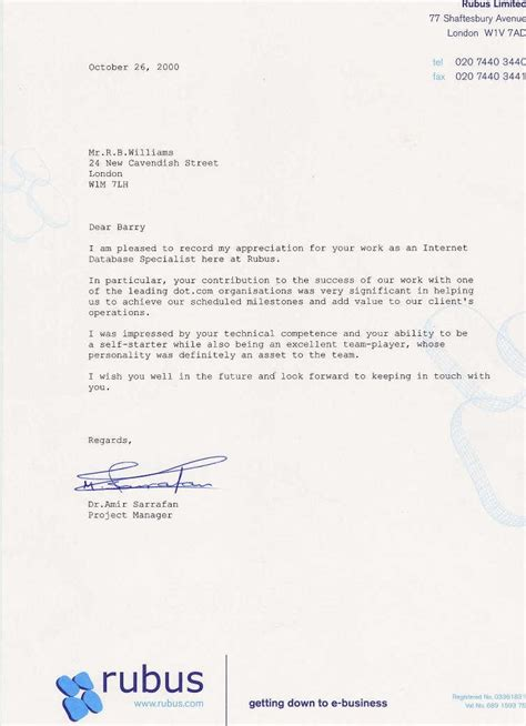 letter of appreciation to doctor rubus amir