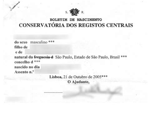 Portugal Birth Records Portfolio Of Translations To To To Portuguese And To Your
