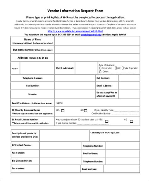 9 Sle Vendor Request Forms Word Pdf Sle Templates Vendor Information Form Template Excel