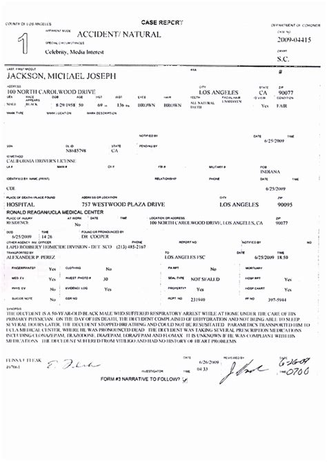 Official Autopsy Results For Smith by Michael Jackson S Autopsy Report Redblackghost