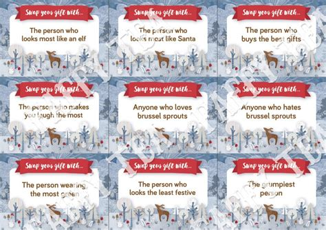 Swap Gift Cards - christmas faffy tea blog christmas party printables inspiration games free stuff