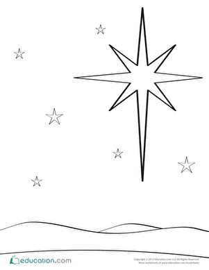 coloring page of a christmas star nativity coloring pages education com