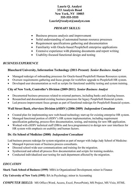 resume details exle exle of business analyst resumes http topresume