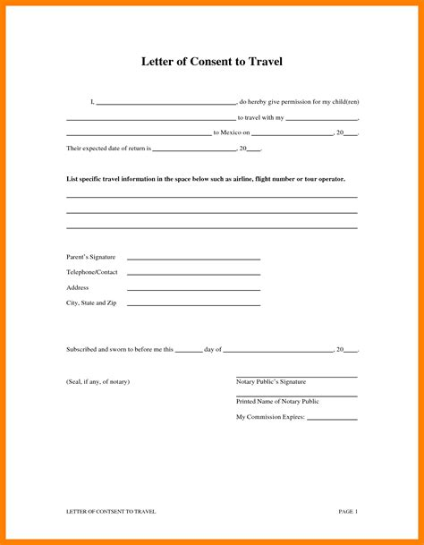 Parents Consent Letter For Cing letter of consent for travel of a minor child your