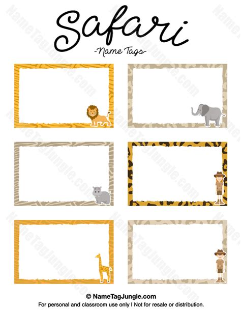 animal cards template clear printable safari name tags