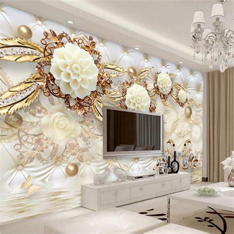 Wallsticker 3d Gold beibehang custom photo wallpaper 3d fresco wall paper sticker 3d luxury gold white flower soft