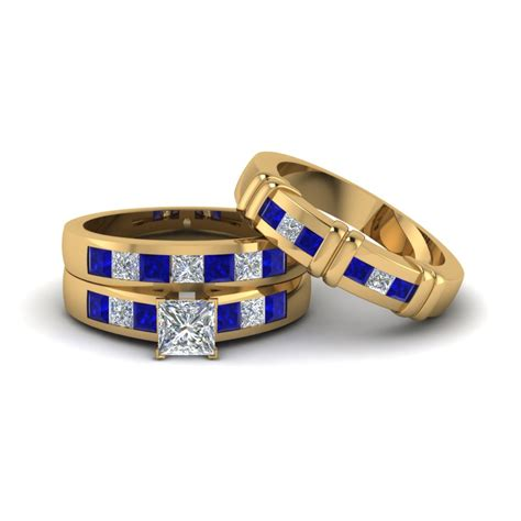 Wedding Rings Trio by View Our Blue Sapphire Trio Wedding Ring Sets
