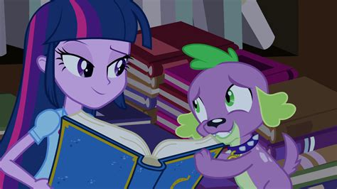 equestria girls twilight and spike image spike gives the yearbook to twilight eg png my