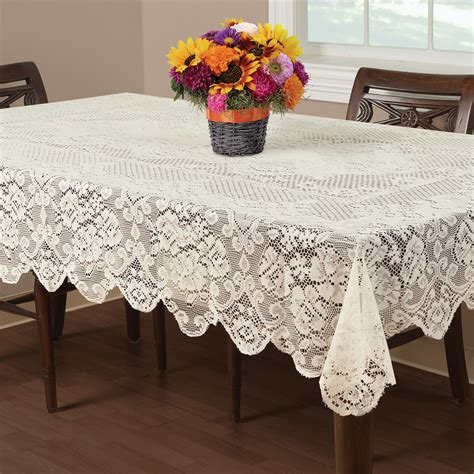 dining room tablecloths essential home buckingham lace tablecloth ivory 52 x 70