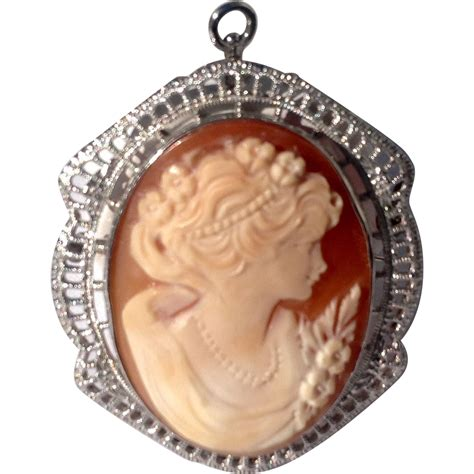 vintage sterling silver cameo brooch pendant from