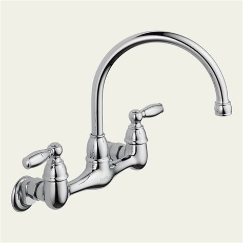 peerless p299305lf choice two handle wall mounted kitchen faucet in chrome traditional