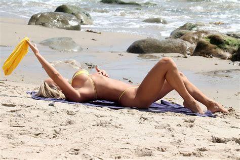 Mary Carey Almost Nude Wearing Tiny Bikini At Malibu Beach