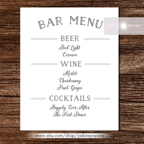 wedding drink menu template bar menu templates 35 free psd eps documents