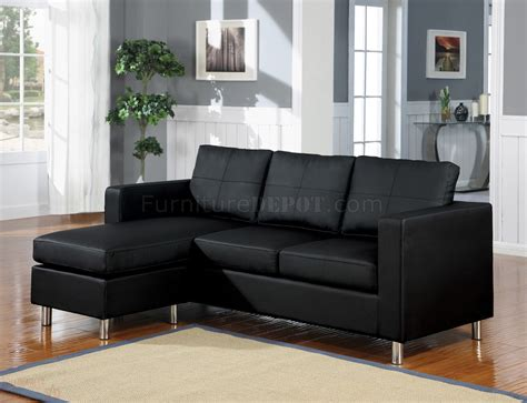 vinyl sectional 15065 kemen sectional sofa in black vinyl by acme