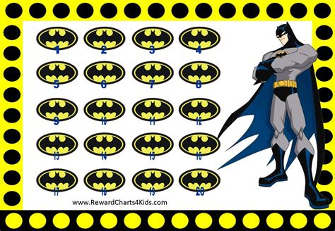 printable batman stickers charts and rewards chart on pinterest