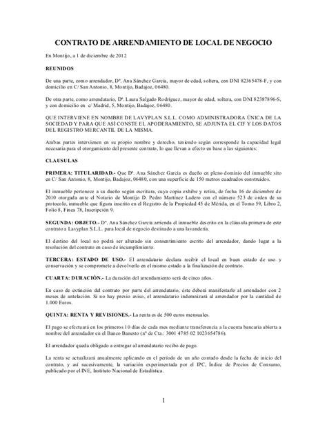 contrato de arrendamiento de local comercial contrato de arrendamiento de local de negocio