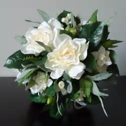 Gardenia Wedding Flowers Silk Bridal Bouquet With Gardenias Clusters Of Ivory