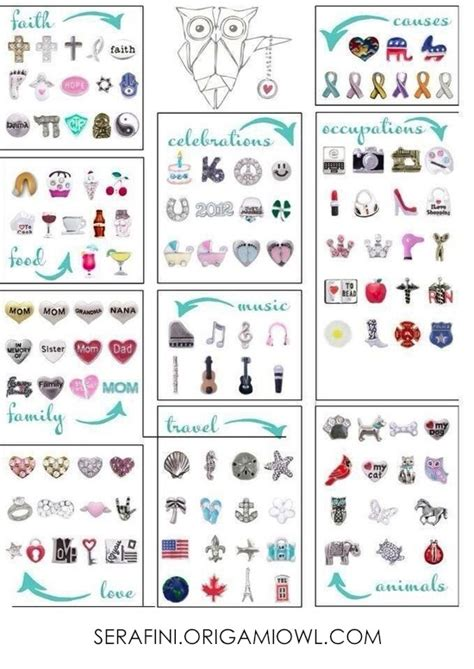 Origami Owl Locations - all of the current origami owl charms in one convenient