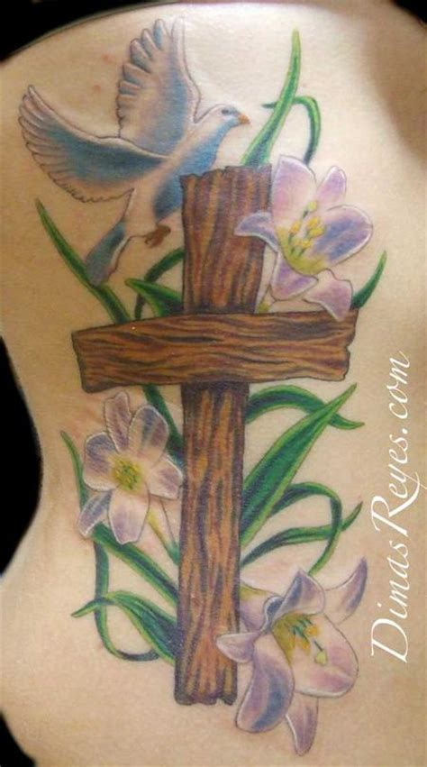 cross with flowers tattoo tattoos on christian tattoos peace dove and