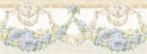 scalloped edge wallpaper border 879081 scalloped white satin blue yellow flowers