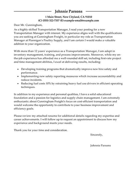 Transportation Manager Cover Letter by Sle Cover Letter Transportation Manager Cover Letter Sle