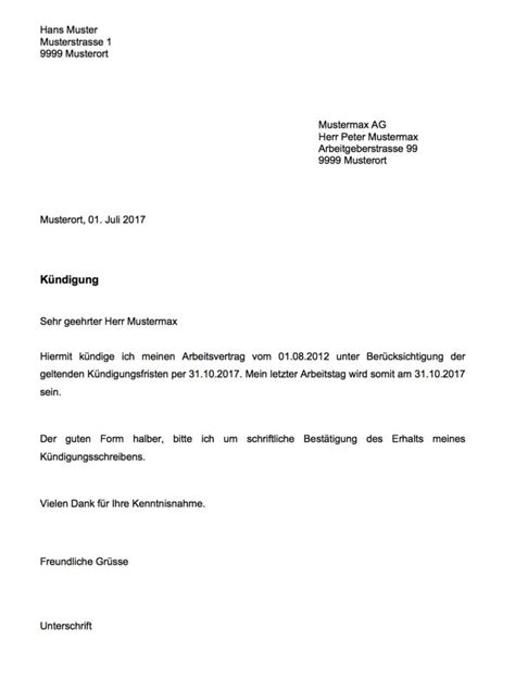 Vorlage Kã Ndigung Arbeitsvertrag K 252 Ndigung Vorlage Arbeitsvertrag Schweiz Vorlage Muster Ch
