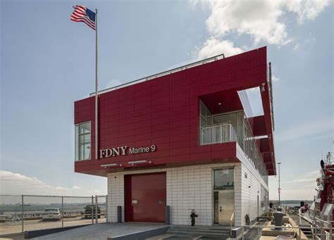 fireboat station marine 9 is a modern fire house with a matching red