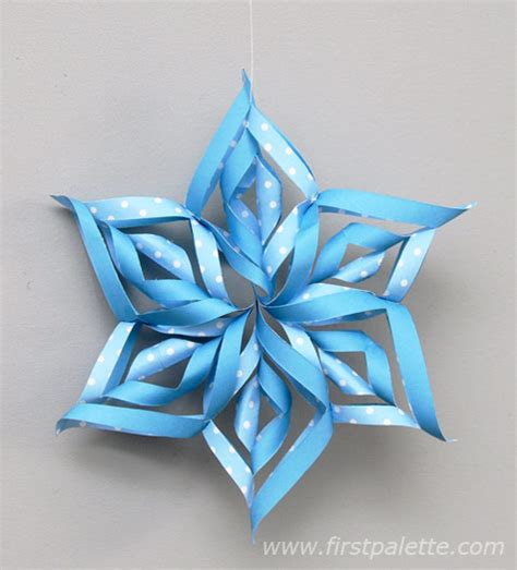 Paper Snowflake Craft - 3d paper snowflake craft crafts firstpalette