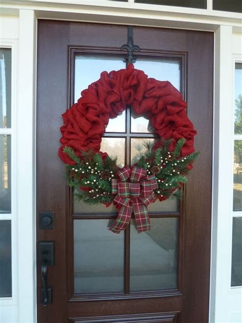 country door home decor red burlap christmas wreath country christmas decor